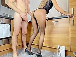 He Saw Me In Crotchless Pantyhose And He Fucked My Pussy Hard In The Kitchen. Pov - Adeline Murphy