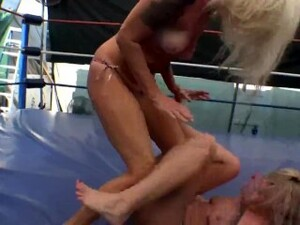 Sexy Blonde Wrestler With A Perfect Ass Dominates And Humiliates Blonde Rival And Sits On Her Face