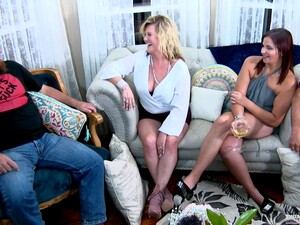 Insatiable Milf Is Having A Blast During A Swinger Party, While Her Husband Is At Work