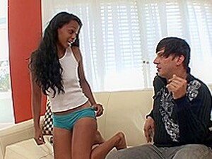 Excited, Black Babe Is Sucking Her Step- Brothers Dick And Riding It On The Sofa
