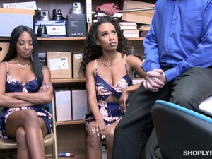 Two Chocolate Babes Get Their Pussies Punished In The Back Room