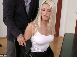 Secretary Blanche Bradburry Gives Blowjob And Gets Her Trimmed Pussy Fucked