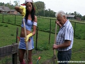 Tall Horny Brunette Emily Seduces Old Man Bruce And Sucks His Strong Dick