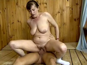 Mature Ugly Slut Marge Rides Strong Cock Right In The Sauna
