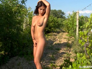 Naughty Endlessa Vitality Plays With A Huge Dildo Outdoors
