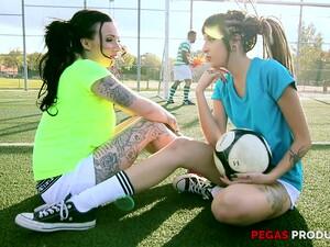 Sporty Tattooed Latina Teens Emilie Martini And Loica Share A Fat Cock