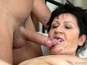 Granny Anastasia Tastes His Sperm After He Fucks Her Hard