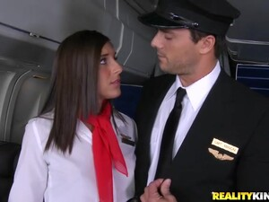 Stewardess Mischa Brooks Takes A Ride On The Captain's Big Cock