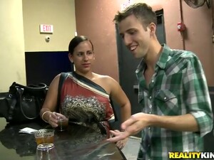 Curvy Blond Angel Is Jumping On The Bartender