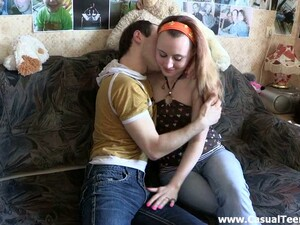 Salacious Teen Blows And Gets Her Crotch Banged From Behind