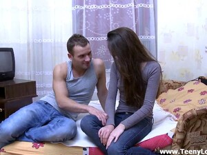 Beautiful Amateur With Small Tits And Long Hair In Jeans Getting Drilled Doggystyle On Bed