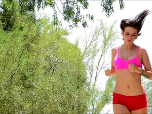 Limber Girl Into Sports Jogs And Stretches Naked