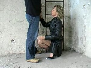 German Prostitute In Leather Coat Gives Me Blowjob