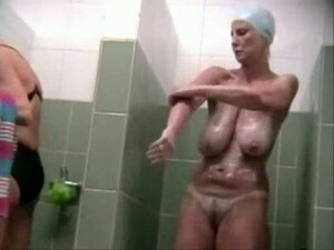 Spy Cam Video From Shower Room - Mature Bitch With Saggy Tits