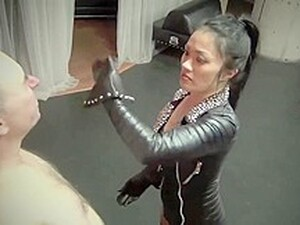 Slave Brutally Faceslapped With Leather Gloves Till He Passes Out