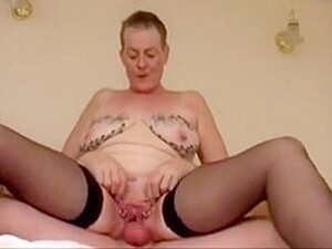 British Granny With Clitorings And Inked Breasts Riding