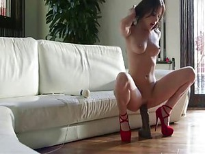 Sexy Brunette Uses Big Dildos To Orgasm