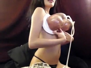 Model BlairMoore Stretches Her Tits Vacuum Pump