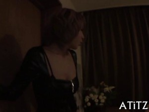 Japanese Blonde Decked Out In Leather Sucking Dick In A Hotel