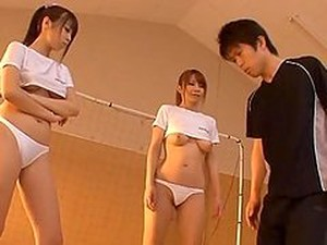 Two Hot Japanese Girls In Soccer Uniform Suck A Cock
