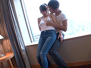 Adorable Asian Dame In Jeans Getting Her Juicy Pussy Fingered Immensely