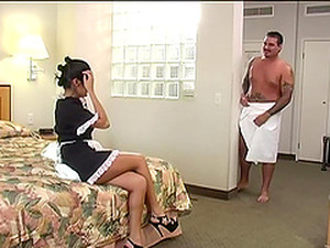 A Lucky Guy Gets To Fuck His Hot Latina Maid In His Hotel Room