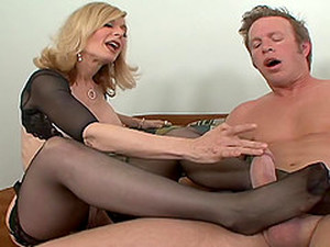 Sizzling Blonde Cougar Enjoying A Hardcore Fuck In Her Living Room