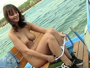 Big Tits Babe Masturbates On Boat