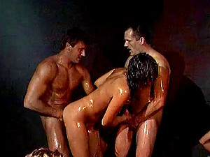 Nasty And Oiled Banging With Handsome Studs And A Naughty MILF Chick
