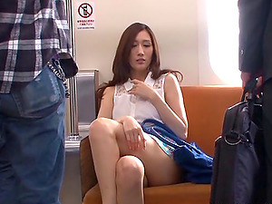 Wonderful Japanese Brunette Receives A Creampie On A Train
