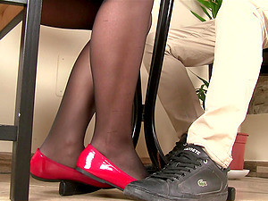 Beauty In Shiny Shoes And Black Pantyhose Plays Footsie With Him