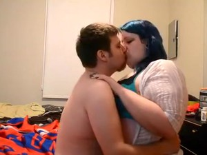 Chubby Emo Girl With Blue Hair Sucks Her Bf's Cock
