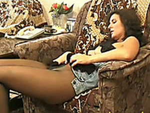 Naughty Amateur Wanker Karina Puts Fingers Under Pantyhose To Masturbate