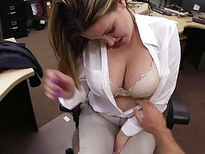 Busty Brunette Slut Sucks A Dick In Pawnshop For Money