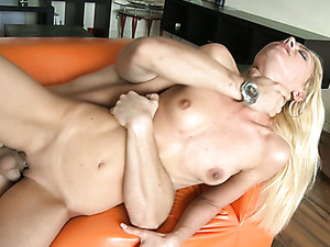 Long Legged Blond Sex Doll With Tiny Tits Gets Her Kitty Ruined In Sideways Pose