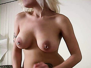 Frivolous Wench With Pierced Nipples Knows How To Give A Great Handjob