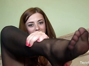 Foot Fetish & Stocking Fun With Busty Brunette Taylor Vixen