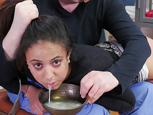Nasty Little Slave Girl Gets Ass Beaten While Slurping Cum