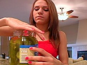Hot Teen Eating Pickles As If They Were Hard Cocks