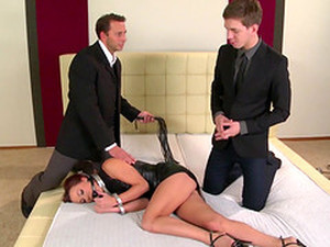 Alysa Gap Is A Handcuffed Brunette Fucked By Two Fellows