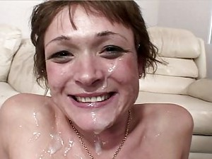 Dirty Talking MILF Gets Face Covered In Cum
