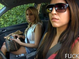 Hot Chicks Have Fun In Their Car