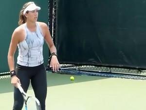 Tennis Player Wearing Spandex Pants