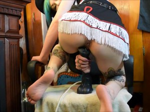 Inked And Pierced Cowgirl-college Girl Takes A Load From Her Dildo