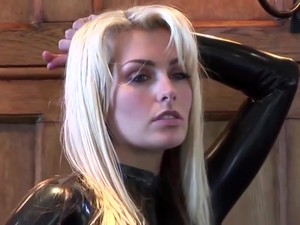 Ridiculously Hot Blonde In Black Latex Catsuit