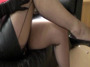 Breasty Wife In Leather And Nylons Taunts Cuck