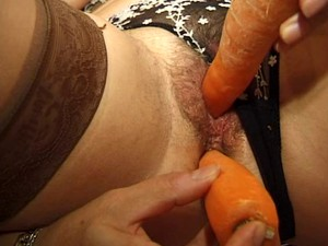 Hairy French Wet Pussy Fucked By Two Big Carrots