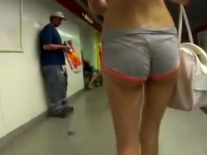Candid Tall Skinny Ass Tiny Shorts Wedgie Bubble Butt
