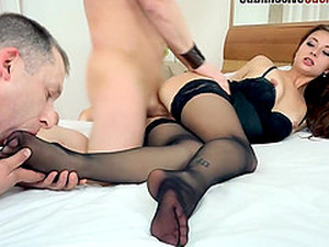 Foot Fetish Brunette In Stockings Being Drilled Hardcore From Different Angles While Moaning