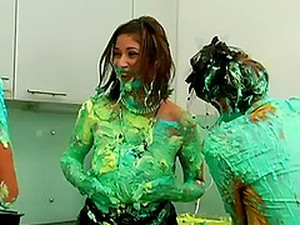 All Girl Food Fight With Green Frosting Covering Them